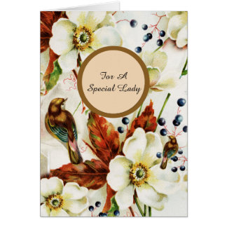 Country bird garden vintage flowers card