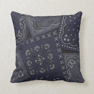 Country Blue Bandana Pattern MoJo Throw Pillow