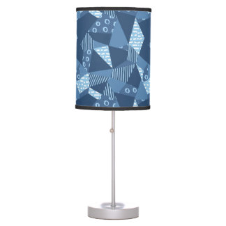 Country blue crazy patchwork geometric table lamp