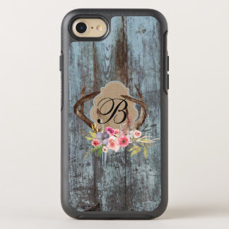 Country Blue Faux Wood Floral Antlers Monogrammed OtterBox Symmetry iPhone 8/7 Case