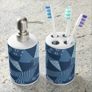 Country blue geometric patchwork shapes bath accessory sets