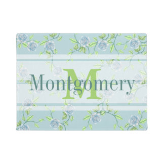 Country Blue Roses Farmhouse Chic Family Name Doormat