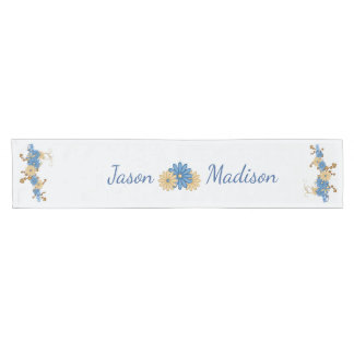 Country Blue with Couple's Names Short Table Runner