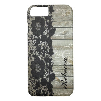 country bohemian Black lace old rustic barnwood iPhone 8/7 Case
