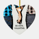 Country Boy and Girl Valentine's Couple Ceramic Heart Ornament