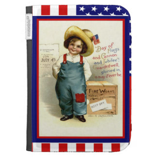 Country boy with fireworks kindle case