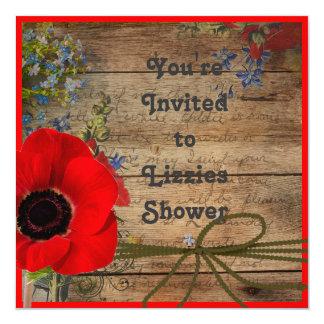 """Country Bridal Shower Invitation 5.25"""" Square Invitation Card"""