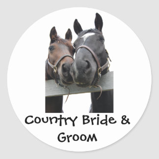 Country Bride and Groom Round Sticker