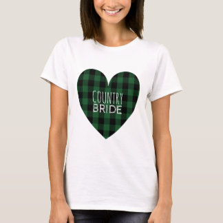 Country Bride Rustic Heart Wedding Buffalo Plaid T-Shirt