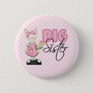 Country Bunny Big Sister (pink) 2 Inch Round Button