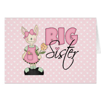 Country Bunny Big Sister (pink) Note Card