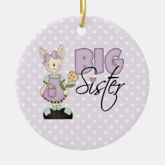 Country Bunny Big Sister (violet) Ceramic Ornament