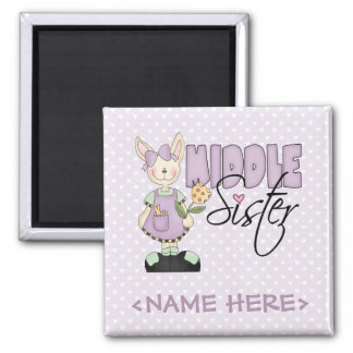 Country Bunny Middle Sister (violet) Square Magnet
