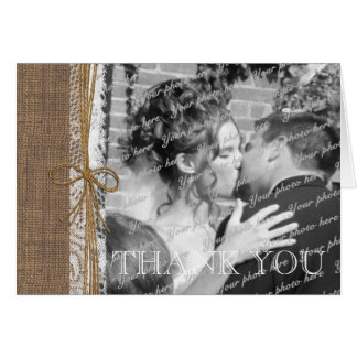 Country Burlap and Twine Photo Thank You Card