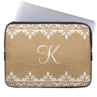 Country Burlap and white damask lace monogram Laptop Sleeve