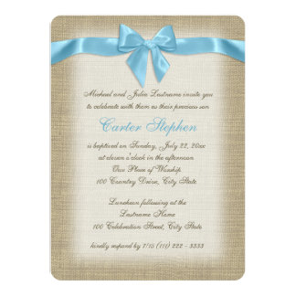 """Country Burlap Baby Blue Christening 5.5"""" X 7.5"""" Invitation Card"""