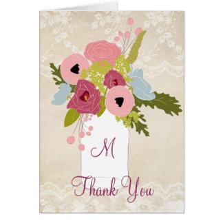 Country Burlap Lace Mason Jar Thank You Card
