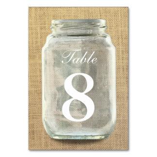 Country Burlap Mason Jar Table Numbers