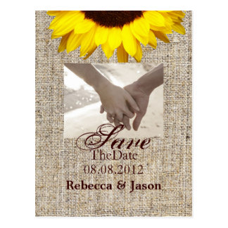 Country Burlap Sunflower Wedding save the date Postcard