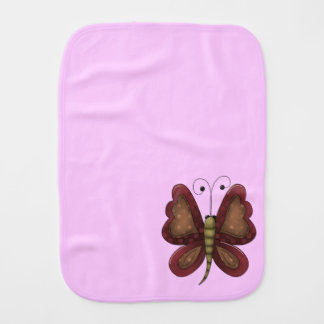 Country Butterfly Pink Girls Baby Burp Cloths