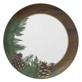 Country Cabin Pine Cone Dinnerware Dinner Plates