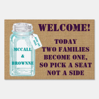Country Canning Jar Rustic Wedding Sign