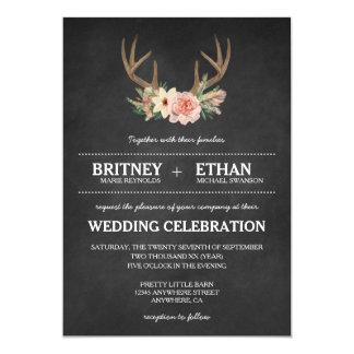Country Chalkboard Deer Antler Wedding Invitations