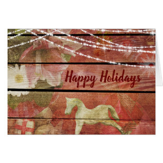 Country Charm Flowers Rocking Horse Happy Holidays Card