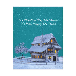 "Country Chateau in Winter Scene ""Happy Home"" Quote Canvas Print"