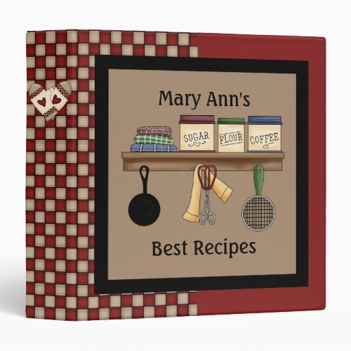 Country Check Recipe Binder 3 Ring Binder