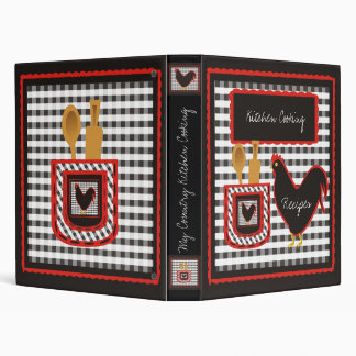 Country Checkered Kitchen Cooking 3 Ring Binders