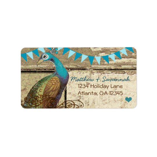 Country Chic Aqua Bunting Vintage Peacock Label