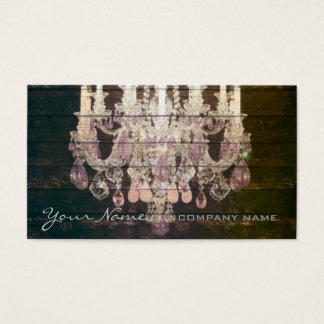 Country chic barn wood Rustic vintage chandelier Business Card