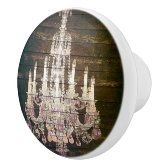 Country chic barn wood Rustic vintage chandelier Ceramic Knob