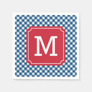 Country Chic Blue Gingham Personalize Monogram Paper Napkins