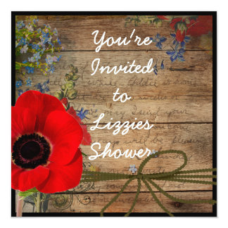 Country CHIC Bridal Shower Poppy FLOWER Invitation