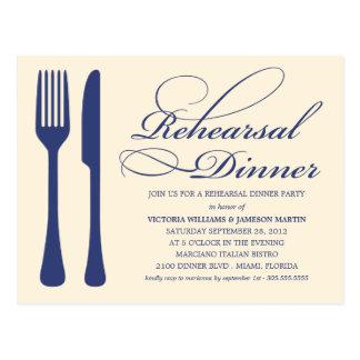 COUNTRY CHIC FLATWARE | REHEARSAL DINNER INVITE POSTCARD