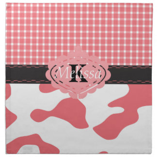 Country Chic Pink Cow & Plaid Monogram Printed Napkins