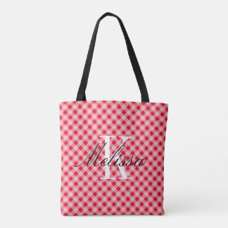 Country chic red gingham pattern custom monogram tote bag
