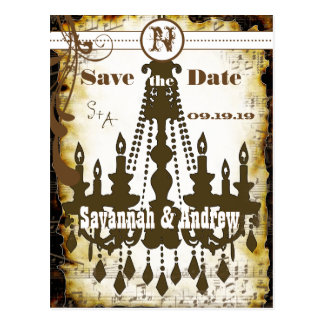 Country Chic Rustic Chandelier Save the Date Postcard