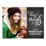 Country Chic Script Graduation Thank You Postcard
