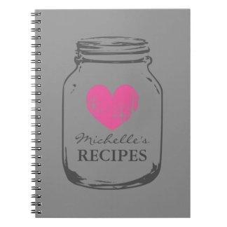 Country chic vintage mason jar recipe notebook