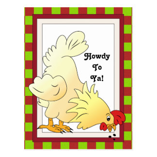 Country Chicken Howdy cartoon postcard