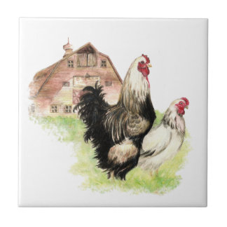 Country Chicken & Rooster Barn, Farm Scene Tile
