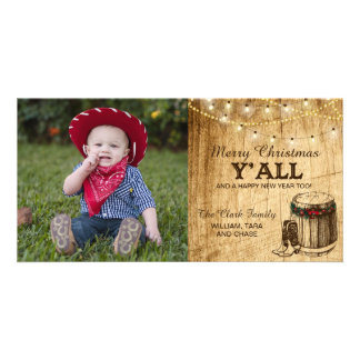 Country Christmas Card - Cowboy Boots and Lights Photo Greeting Card