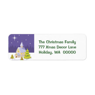 Country Christmas Chapel Return Address Stickers Return Address Label