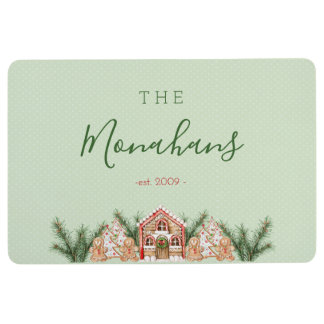 Country Christmas Gingerbread House Floor Mat