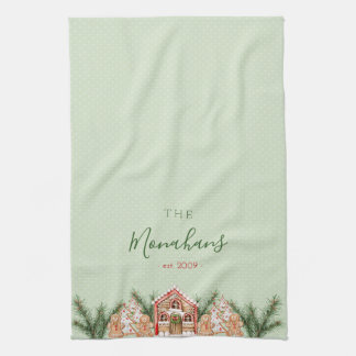 Country Christmas Gingerbread House Kitchen Towel