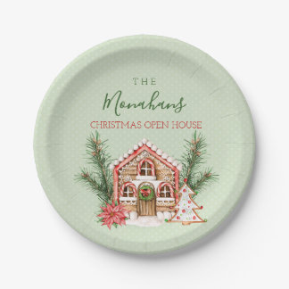 Country Christmas Gingerbread House Paper Plate