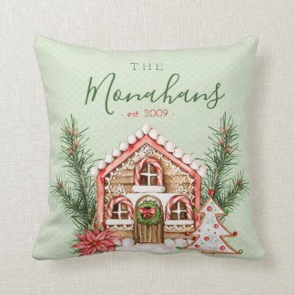 Country Christmas Gingerbread House Throw Pillow